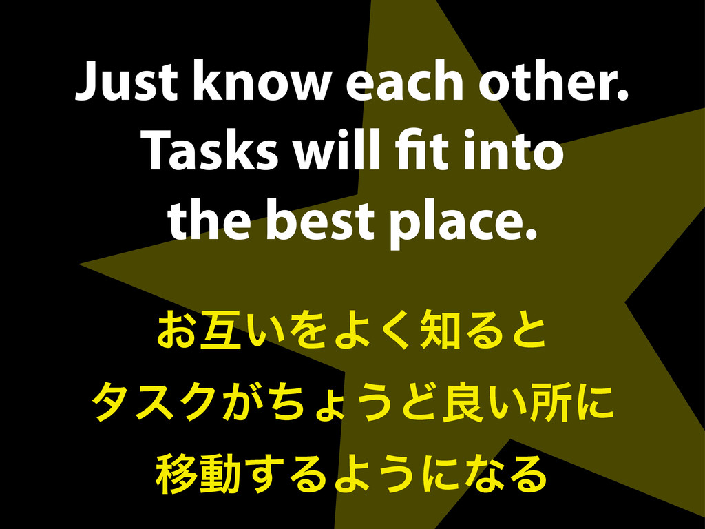 Just know each other. Tasks will fit into the be...