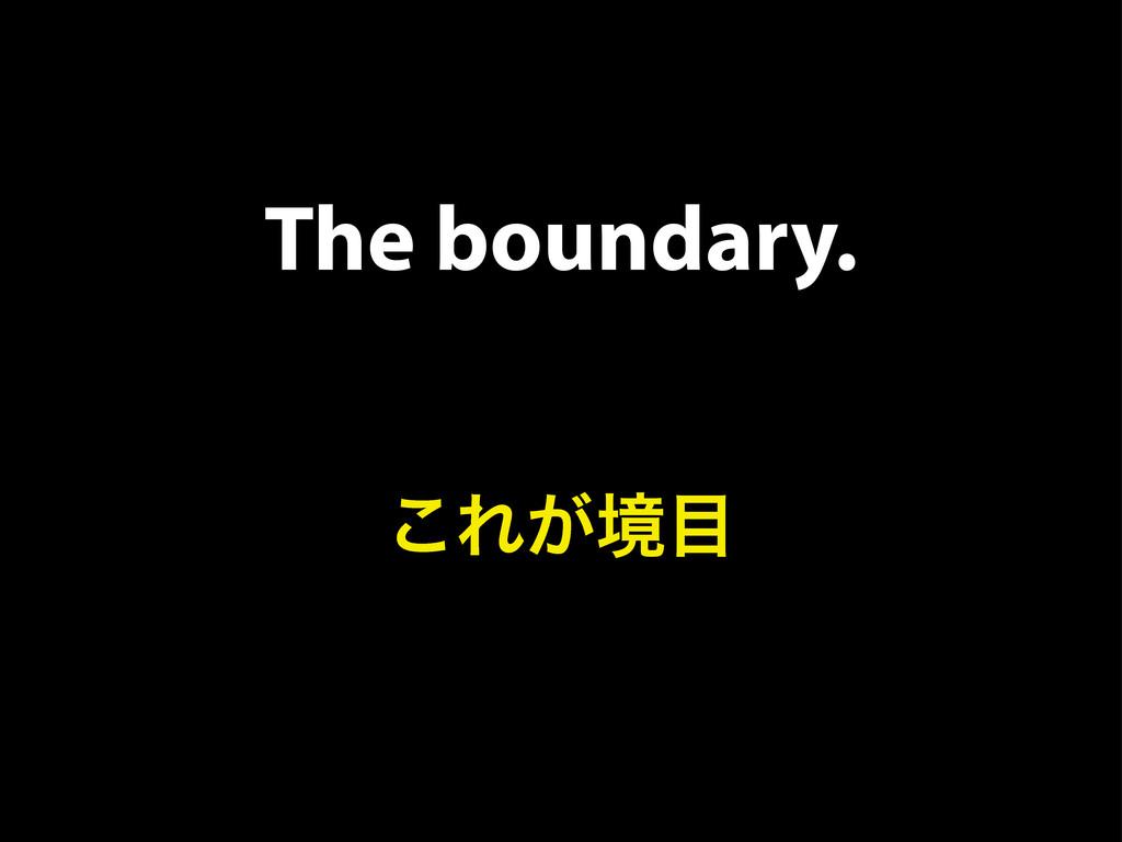 The boundary. ͜Ε͕ڥ