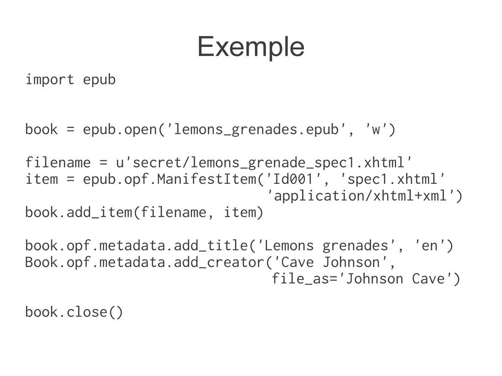 import epub book = epub.open('lemons_grenades.e...