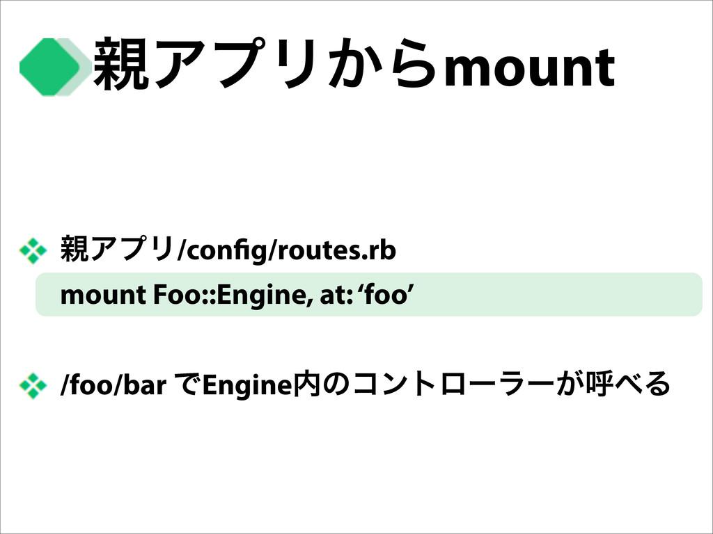 ΞϓϦ͔Βmount ΞϓϦ/con g/routes.rb mount Foo::Eng...