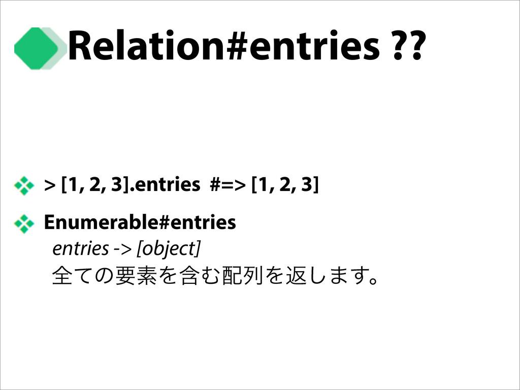 > [1, 2, 3].entries #=> [1, 2, 3] Enumerable#en...