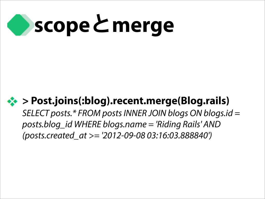 > Post.joins(:blog).recent.merge(Blog.rails) SE...