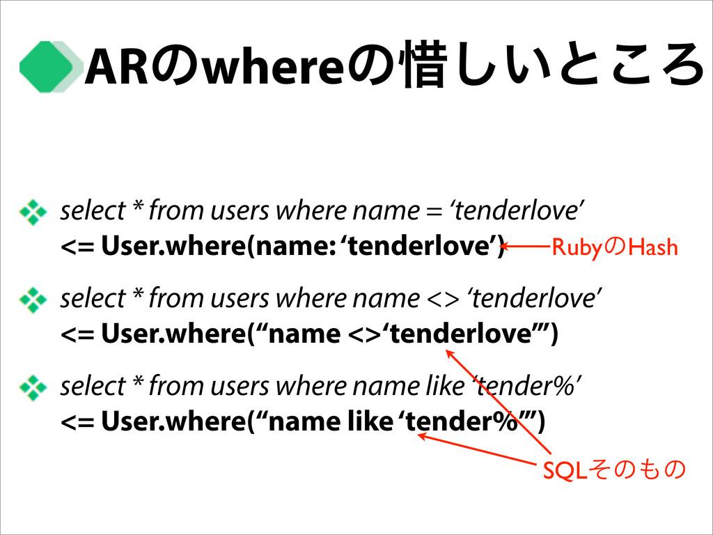 ARͷwhereͷ੯͍͠ͱ͜Ζ select * from users where name ...