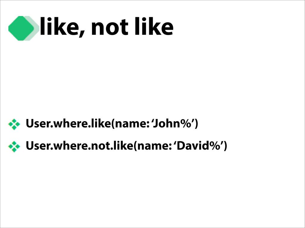 like, not like User.where.like(name: 'John%') U...