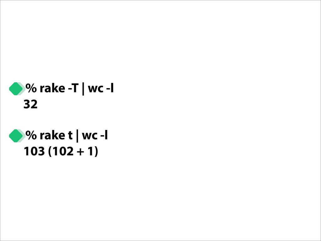 % rake -T   wc -l 32 % rake t   wc -l 103 (102 ...