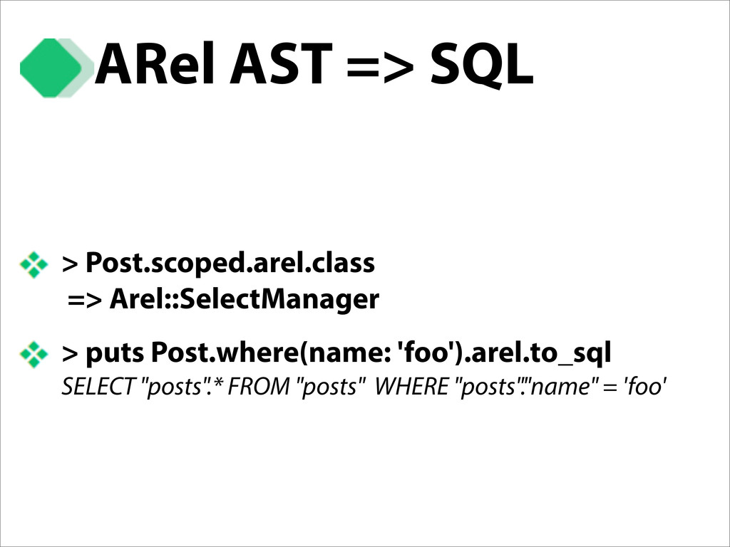 ARel AST => SQL > Post.scoped.arel.class => Are...