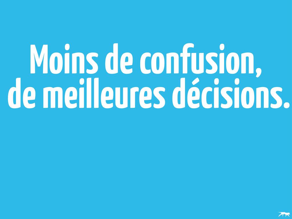 Moins de confusion, de meilleures décisions.