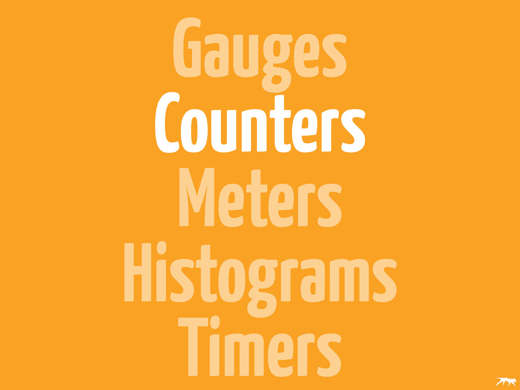 Gauges Counters Meters Histograms Timers