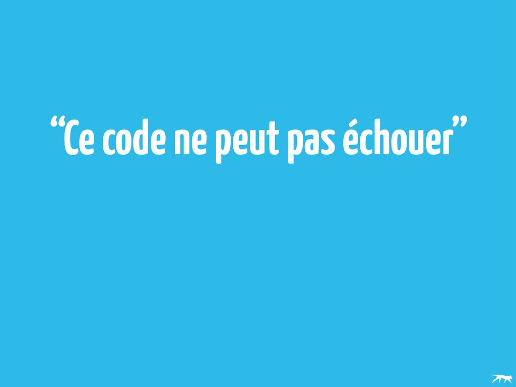"""""""Ce code ne peut pas échouer"""""""