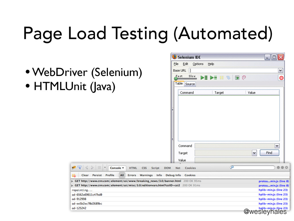 Page Load Testing (Automated) • WebDriver (Sele...