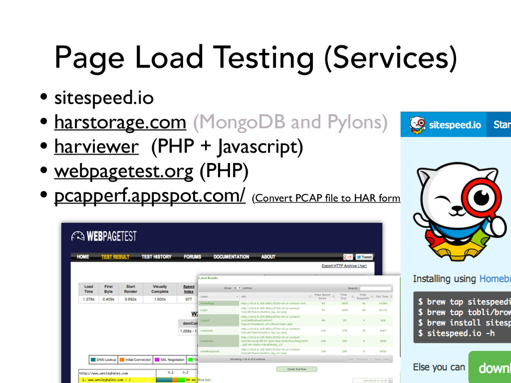 Page Load Testing (Services) • sitespeed.io  ...