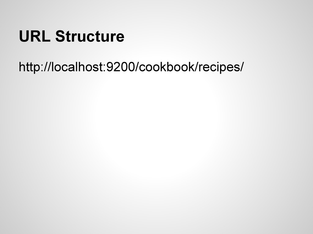 URL Structure http://localhost:9200/cookbook/re...