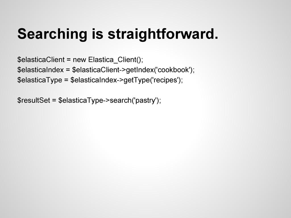 Searching is straightforward. $elasticaClient =...