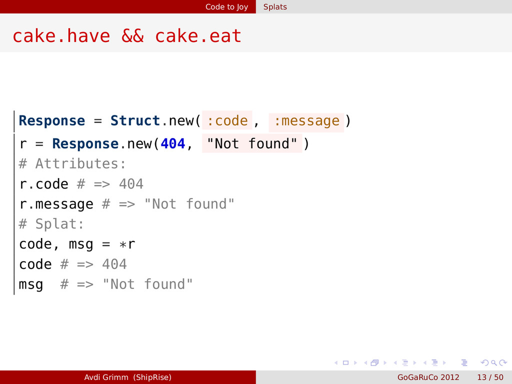 Code to Joy Splats cake.have && cake.eat Respon...