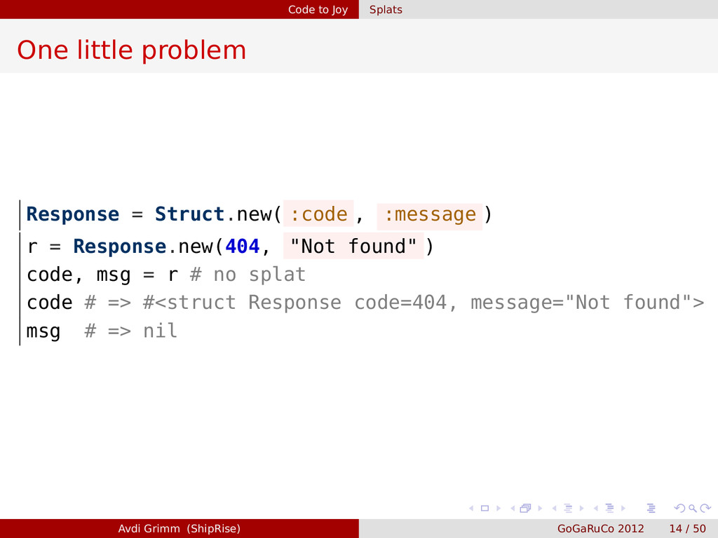Code to Joy Splats One little problem Response ...
