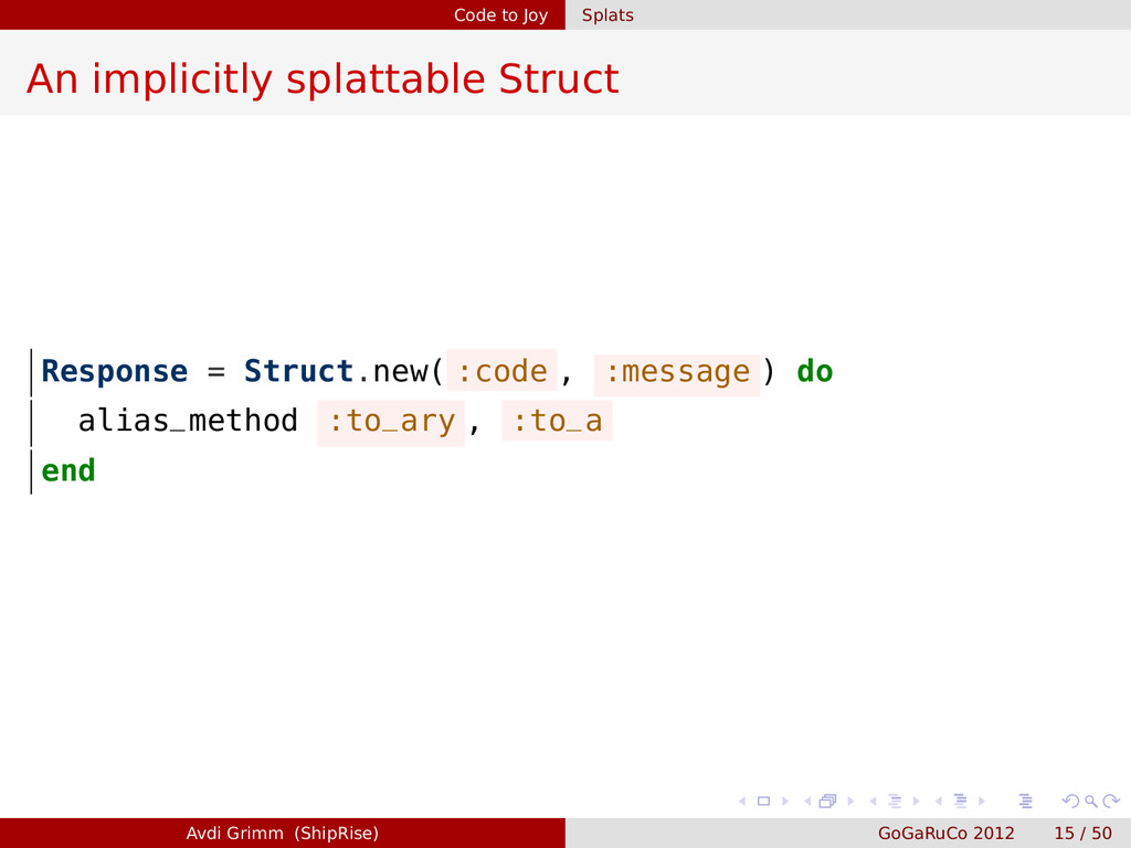 Code to Joy Splats An implicitly splattable Str...