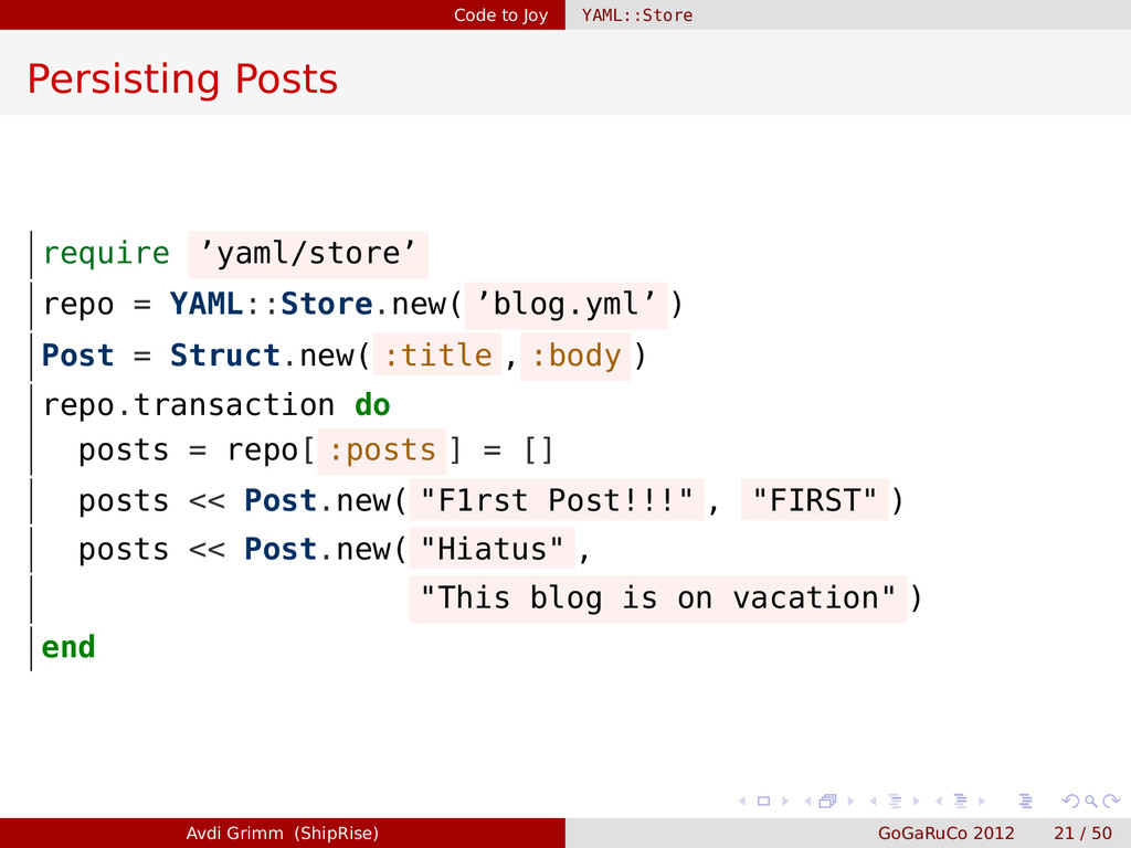 Code to Joy YAML::Store Persisting Posts requir...