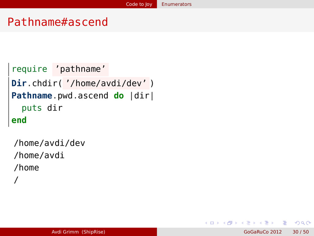 Code to Joy Enumerators Pathname#ascend require...