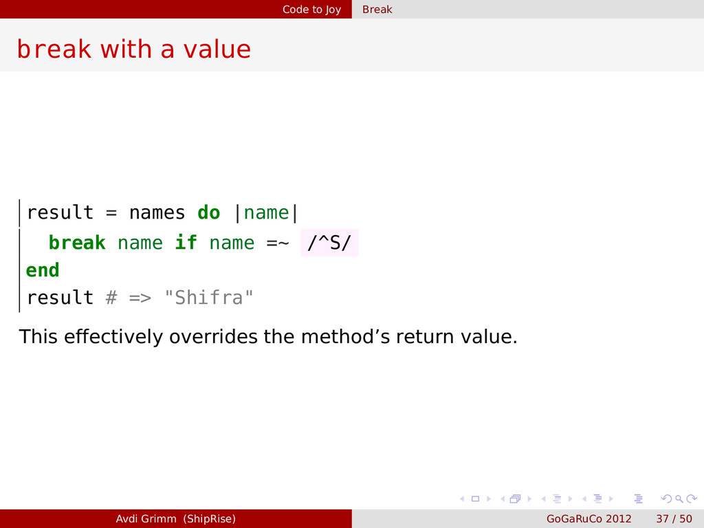 Code to Joy Break break with a value result = n...