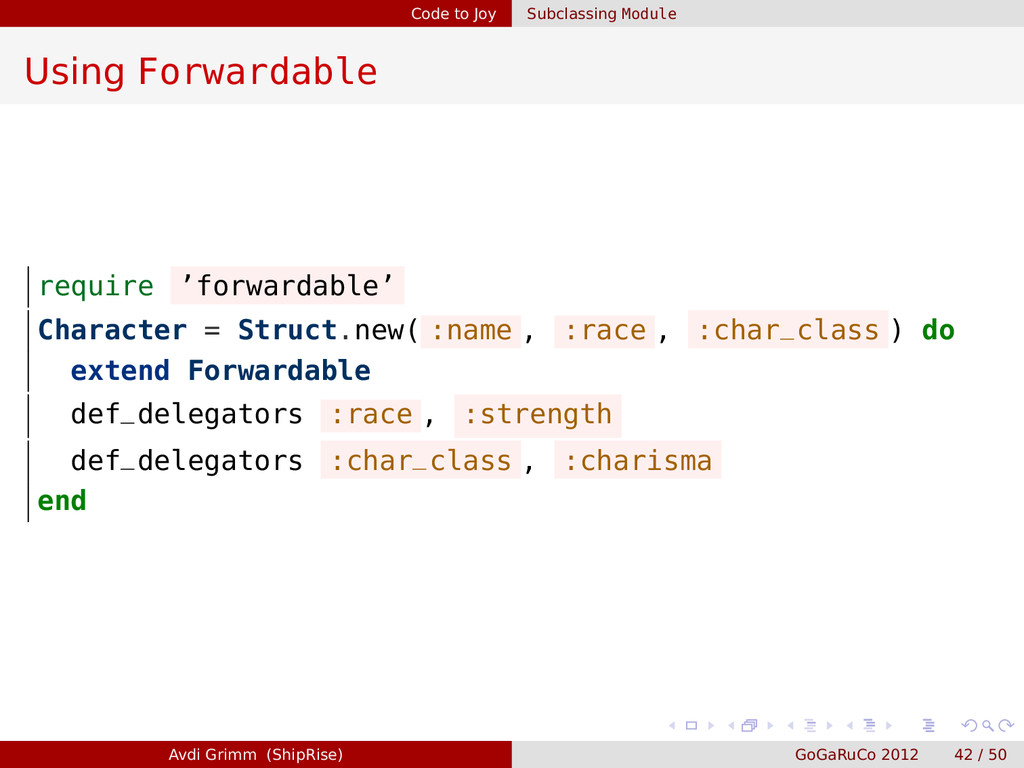 Code to Joy Subclassing Module Using Forwardabl...