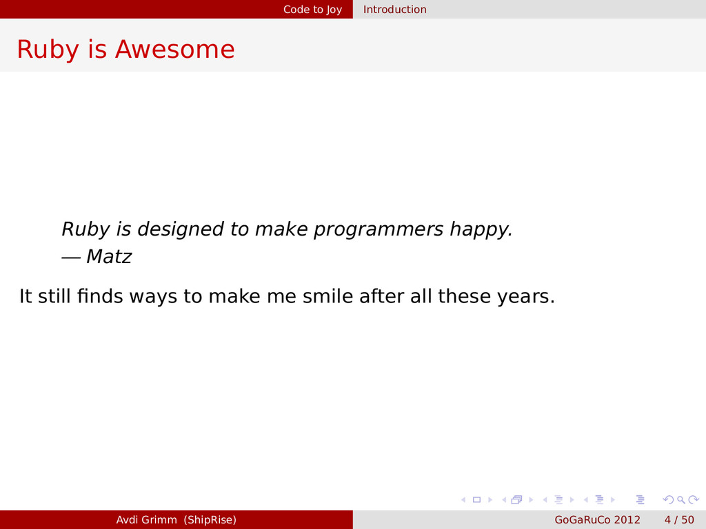 Code to Joy Introduction Ruby is Awesome Ruby i...