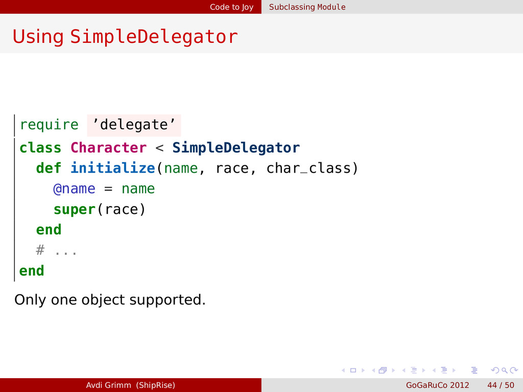 Code to Joy Subclassing Module Using SimpleDele...