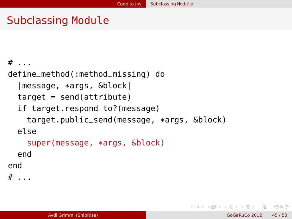 Code to Joy Subclassing Module Subclassing Modu...