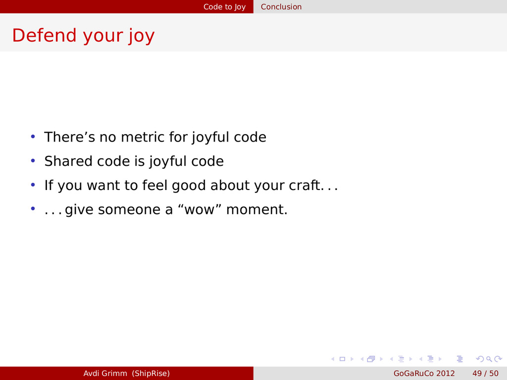 Code to Joy Conclusion Defend your joy • There'...