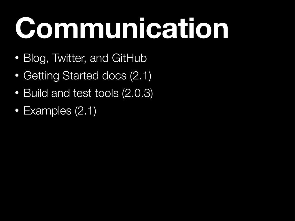 Communication • Blog, Twitter, and GitHub • Get...