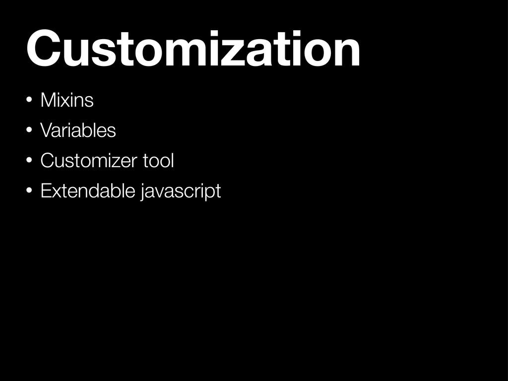 Customization • Mixins • Variables • Customizer...
