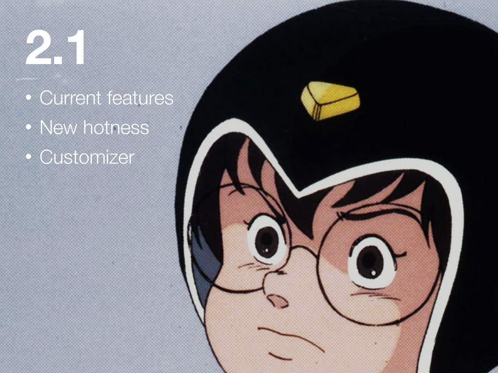 2.1 • Current features • New hotness • Customiz...