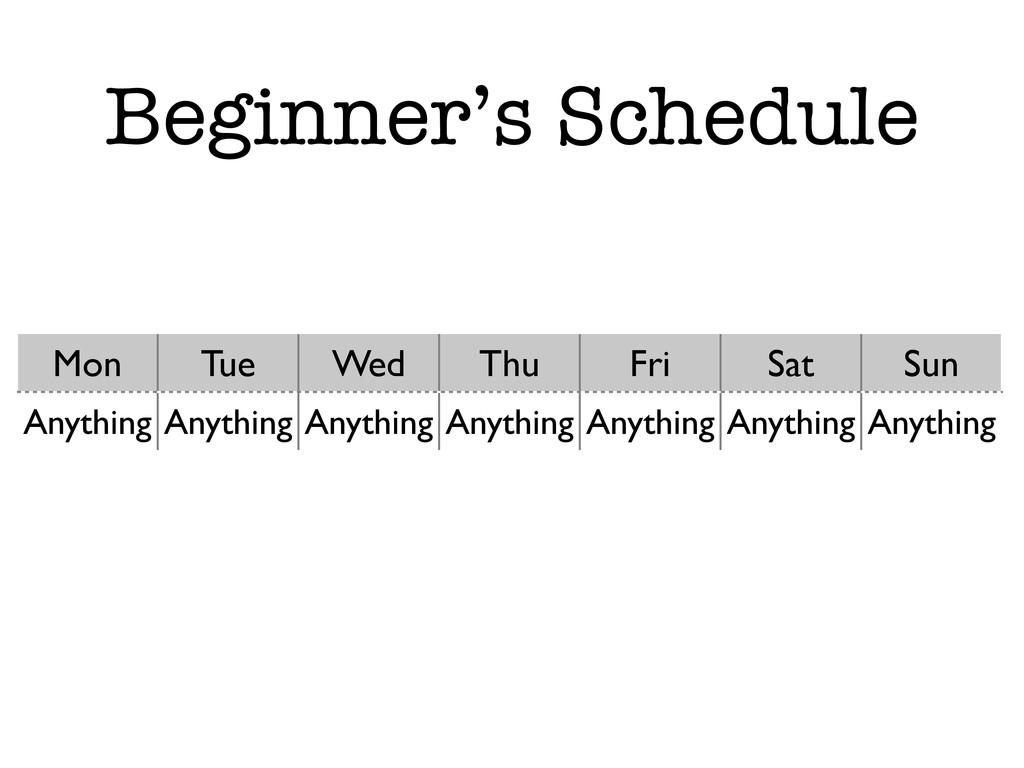 Beginner's Schedule Mon Tue Wed Thu Fri Sat Sun...