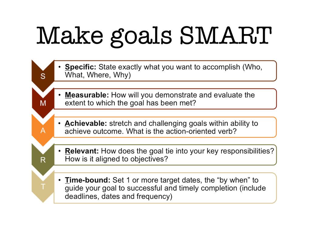 Make goals SMART