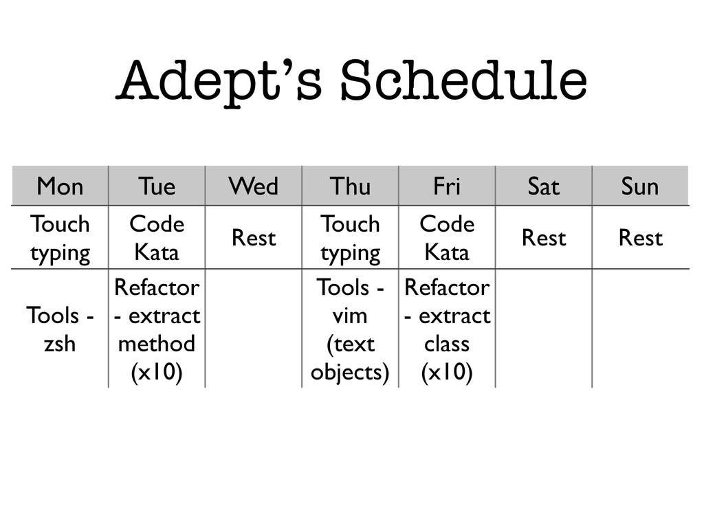 Adept's Schedule Mon Tue Wed Thu Fri Sat Sun To...