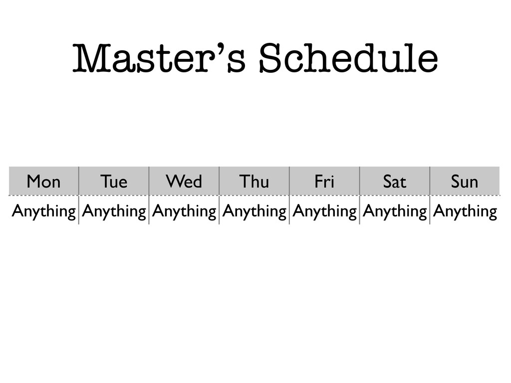 Master's Schedule Mon Tue Wed Thu Fri Sat Sun A...