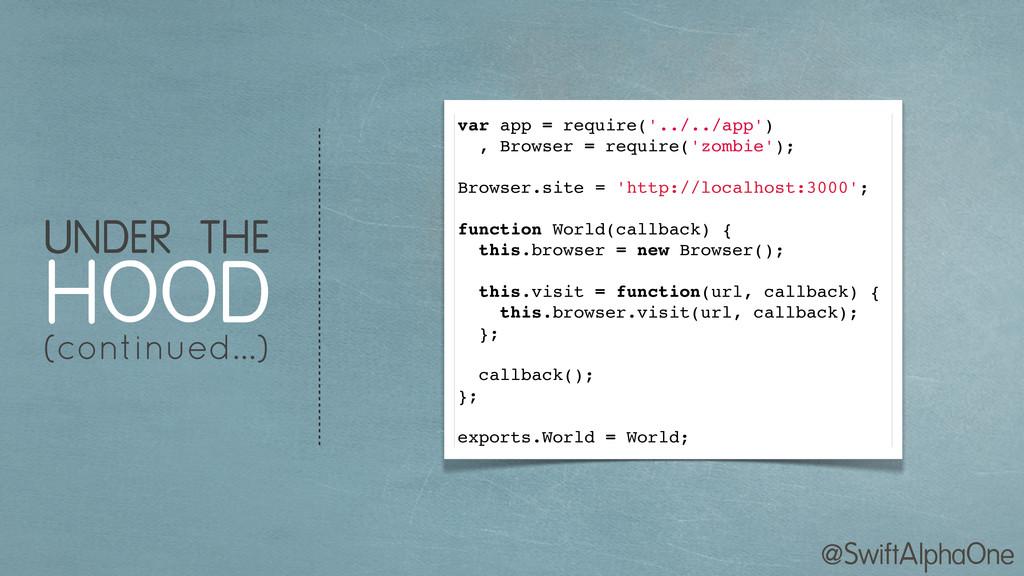 @SwiftAlphaOne var app = require('../../app') ,...