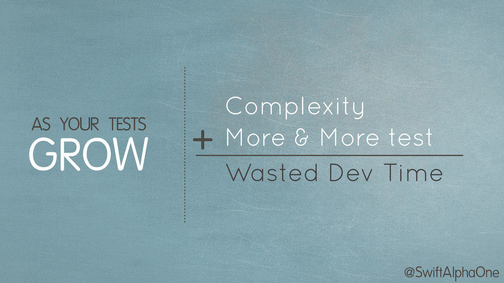 @SwiftAlphaOne Complexity GROW AS YOUR TESTS + ...