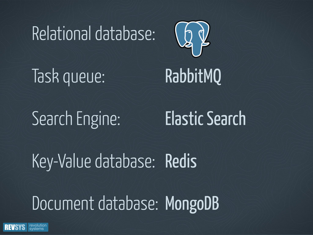 Relational database: Task queue: RabbitMQ Searc...