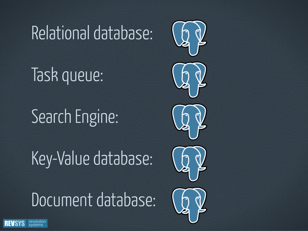 Relational database: Task queue: Search Engine:...