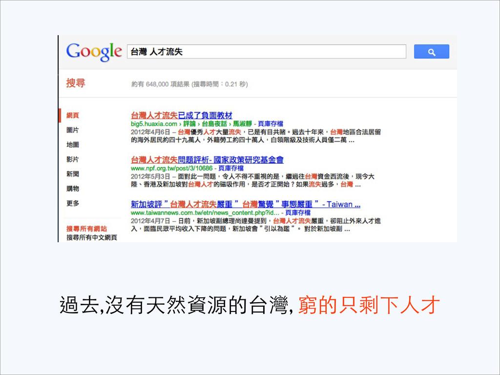 過去,沒有天然資源的台灣, 窮的只剩下⼈人才
