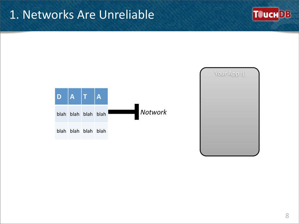 TouchDB 1. Networks Are Unreliable 8 Y...