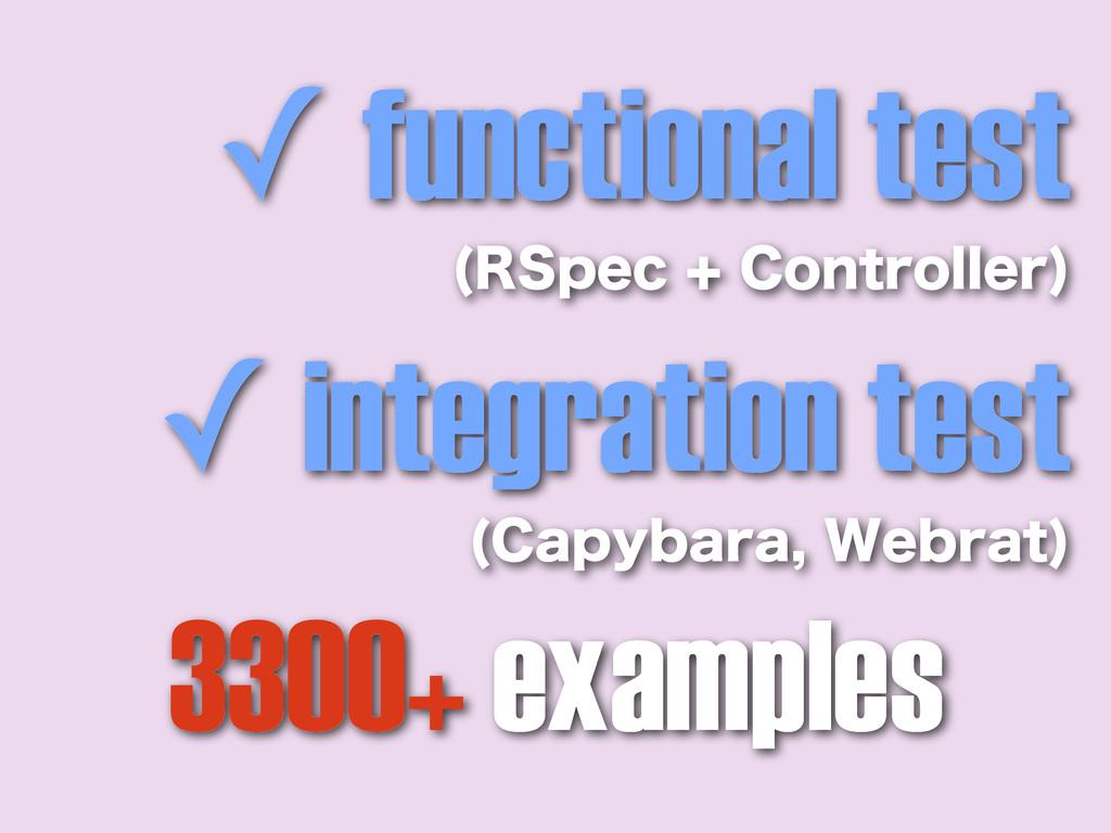 ✓ functional test 34QFD$POUSPMMFS  ✓ integra...