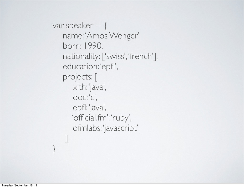 var speaker = { name: 'Amos Wenger' born: 1990,...