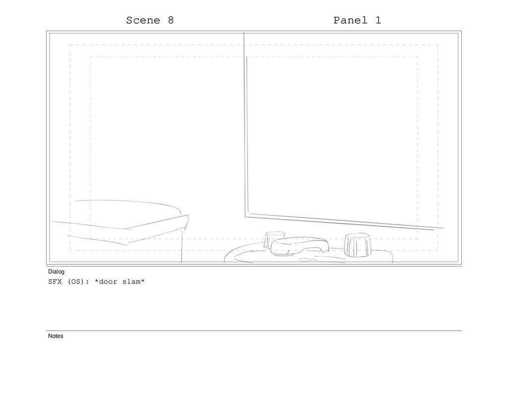 Scene 8 Panel 1 Dialog SFX (OS): *door slam* No...