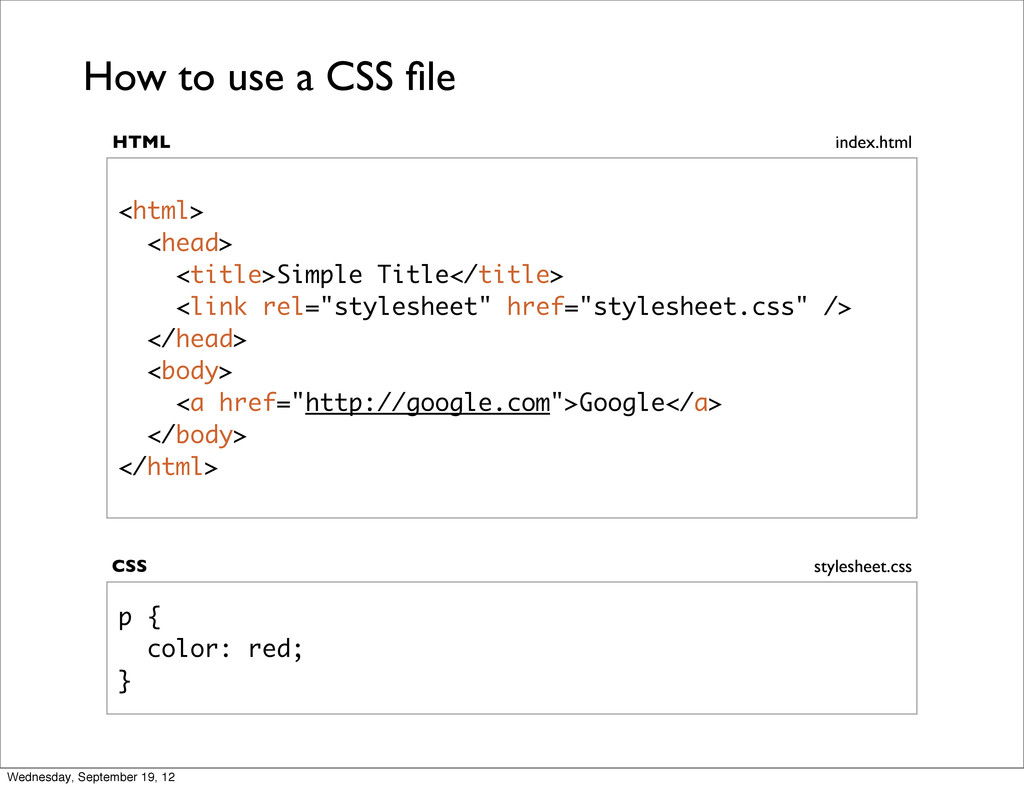 p { color: red; } <html> <head> <title>Simple T...