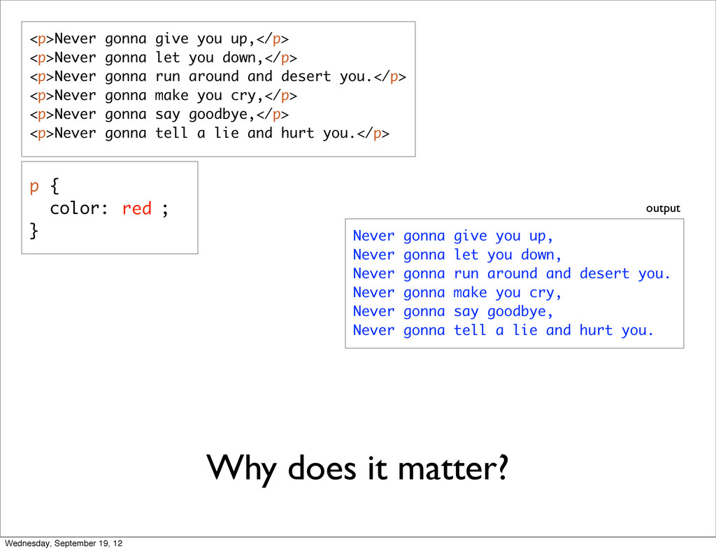 Why does it matter? <p>Never gonna give you up,...