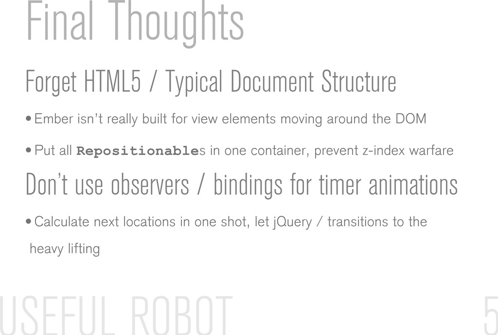 Final Thoughts Forget HTML5 / Typical Document ...