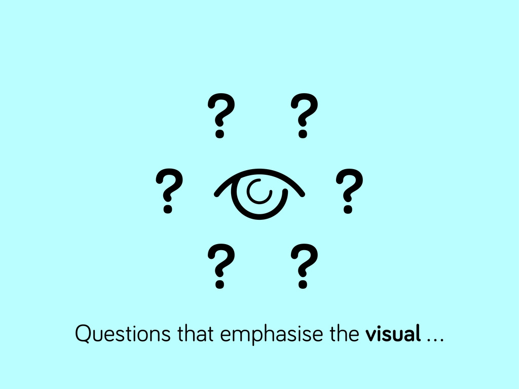 ? ? ? ? ? ? Questions that emphasise the visual...