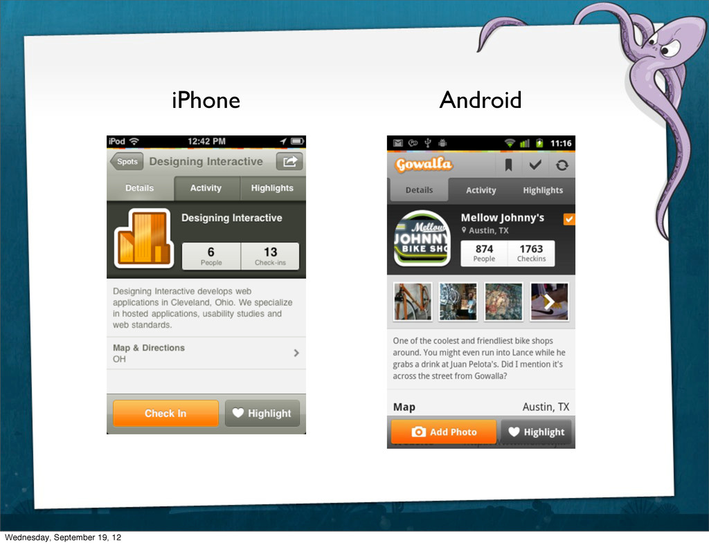 iPhone Android Wednesday, September 19, 12