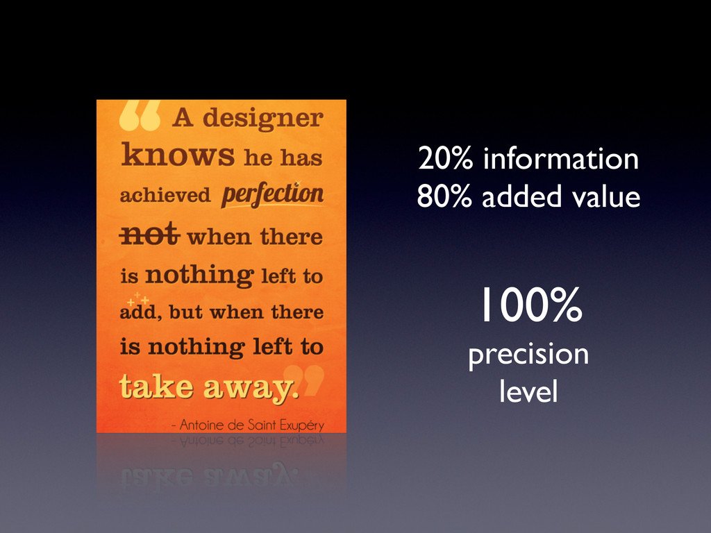 20% information 80% added value 100% precision ...